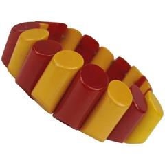 1930's Vintage Bakelite Catalin Stretch Red & Yellow Bracelet