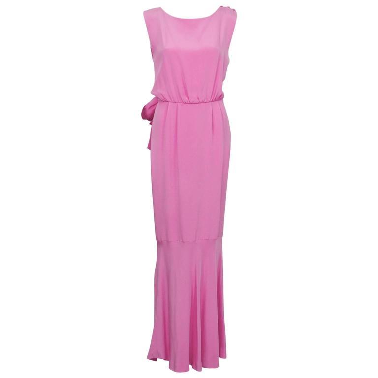 1960's Shocking Pink Silk Evening Gown