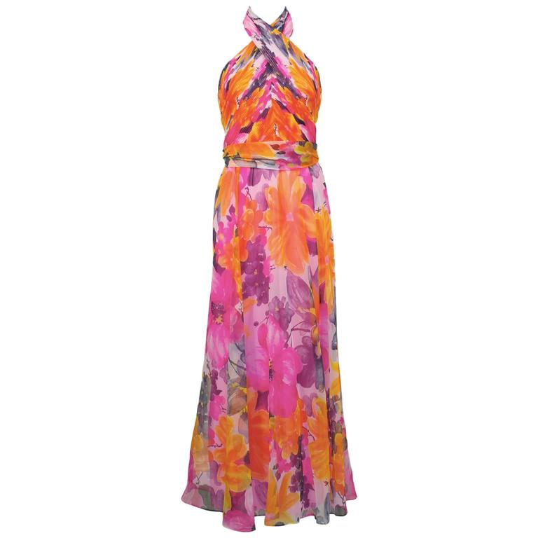 1970's Hot Pink Floral Halter Gown