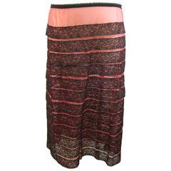 Schiaparelli Pink and Black Nylon Slip Elastic Waist