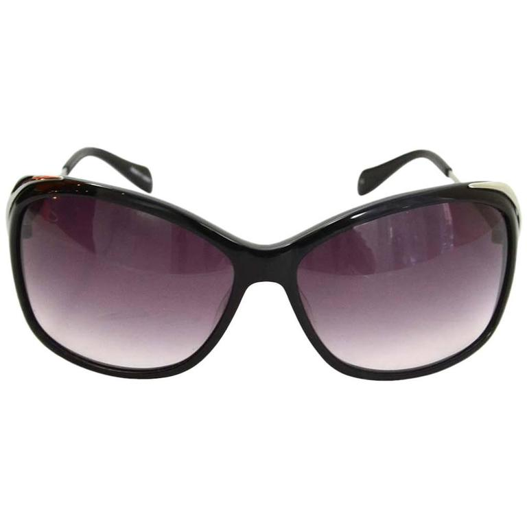 01280a75c8 Oliver Peoples Black and Silvertone Round Frame Resin Sunglasses For ...