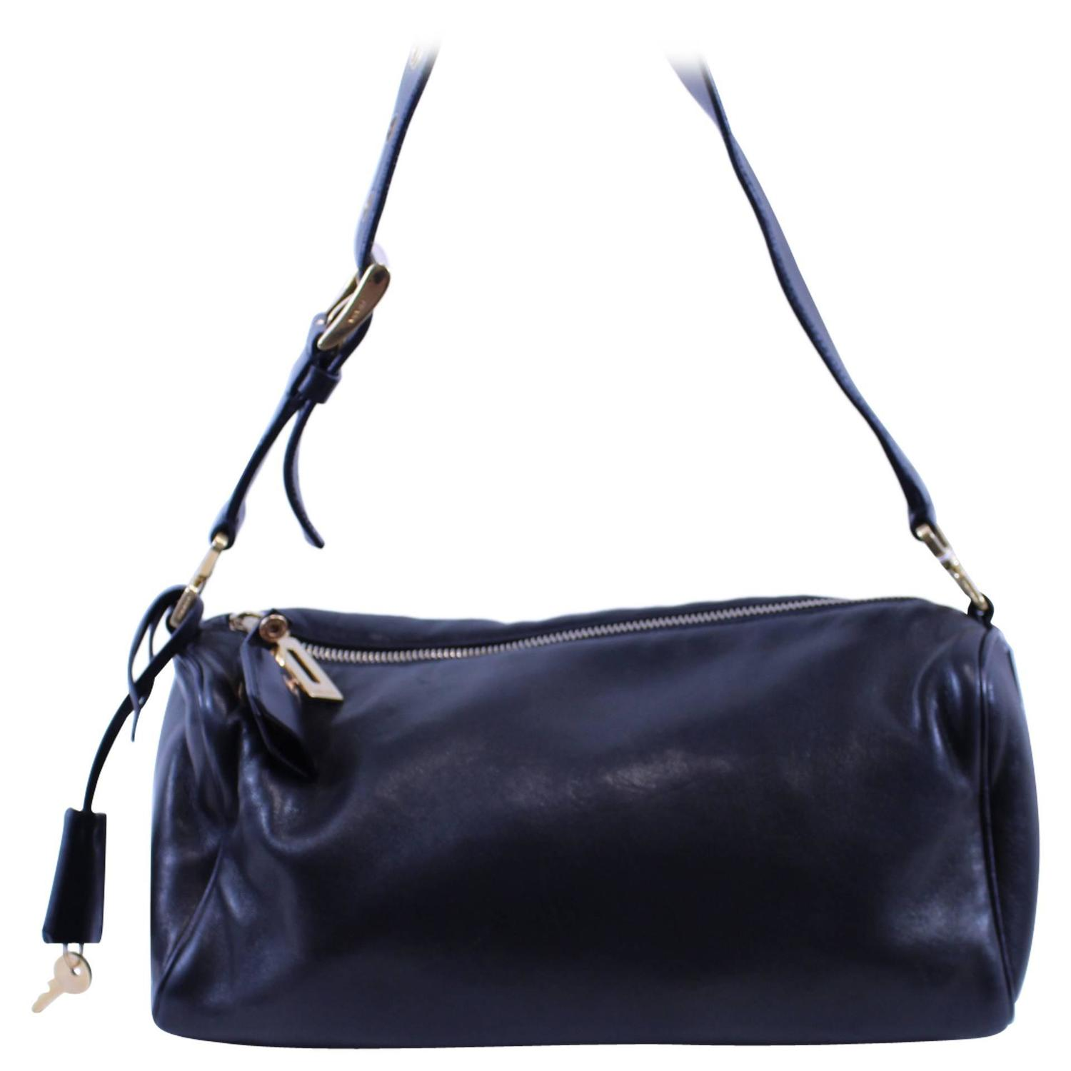 0f10f14f3cb5e1 ... handbags prada nylon hobo bag - Prada black leather bag with silver  hardware For Sale at 1stdibs ...