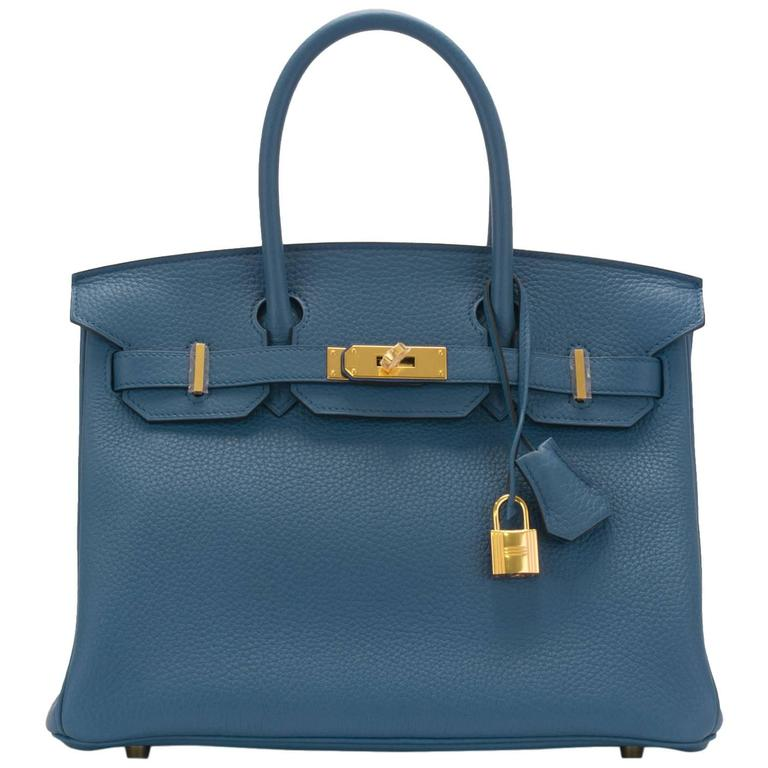 Hermes Birkin 30 T Clemence Leather R2 Blue Agate New