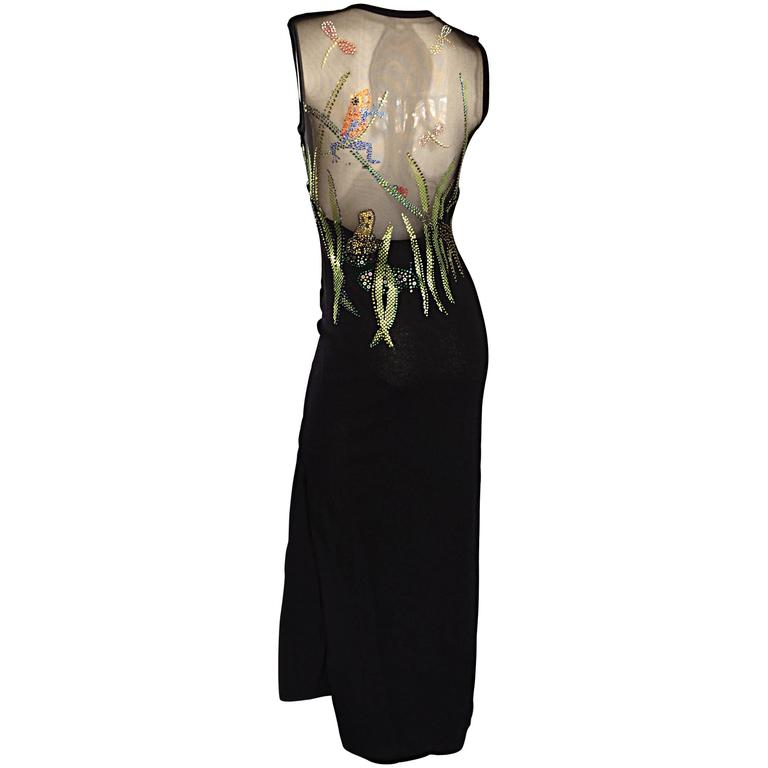 "St John Couture Marie Gray ' Dragonflies and Frogs "" Sequin Black Knit Gown 2-4"
