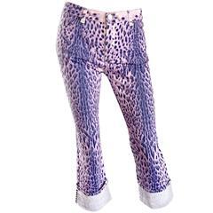 Vintage Roberto Cavalli Purple Leopard Cheetah Studded Cropped Capri Pants Sz M