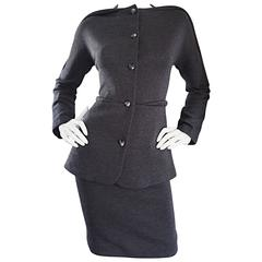 Geoffrey Beene Vintage Charcoal Gray 1990s Avant Garde Skirt Suit Ensemble Sz 6