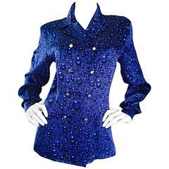 "Vintage Escada Margaretha Ley Royal Blue ' Raindrop "" Optical Illusion Blouse"