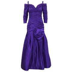 1980's Purple Taffeta Scaasi Off-The-Shoulder Evening Gown