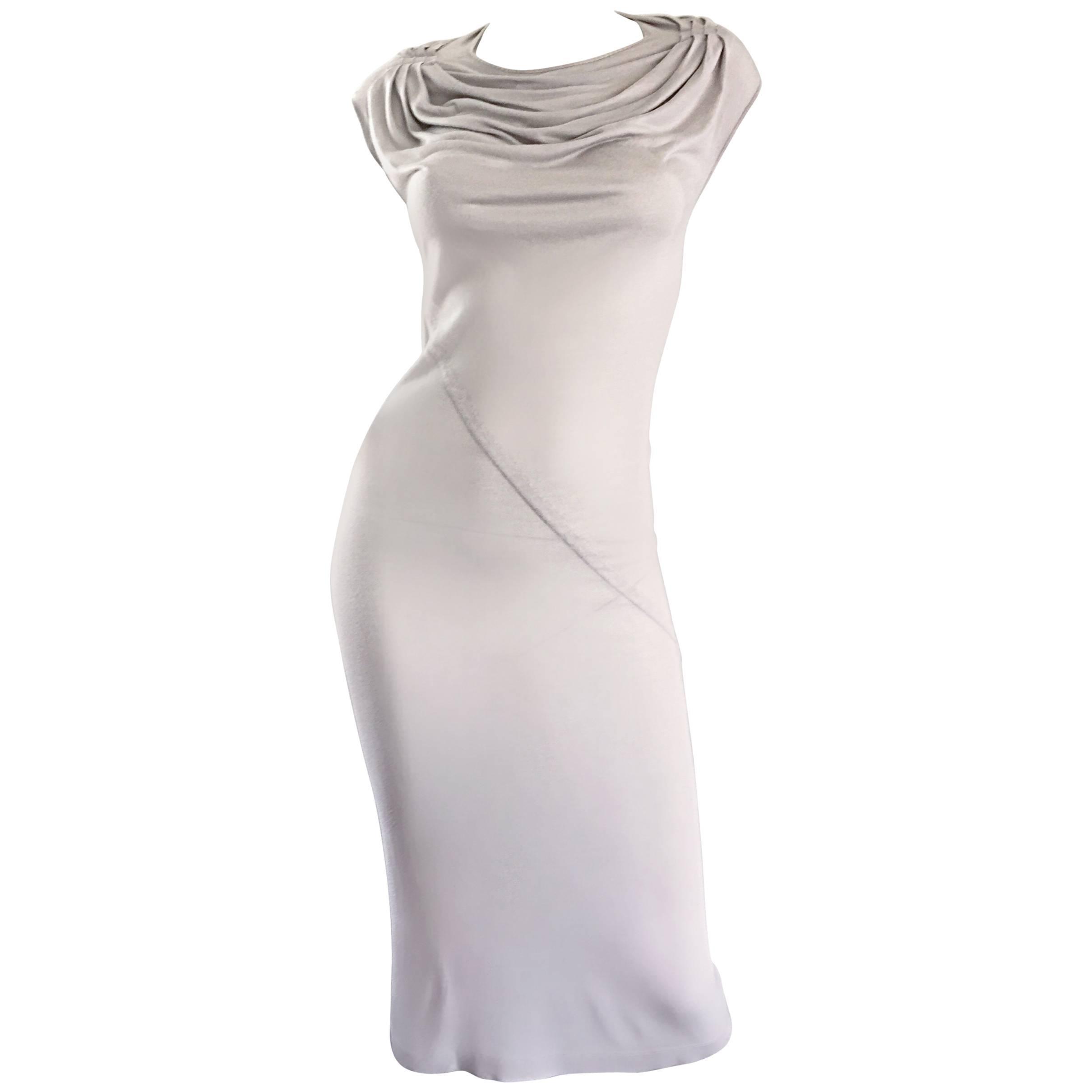 "Rick Owens "" Vicious "" Pearl SS 2014 Light Gray Draped Body Con T Shirt Dress"