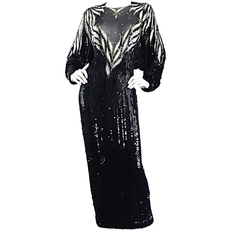 Incredible Vintage Bob Mackie Couture Custom Made Black Silk Sequin Beaded Gown  1