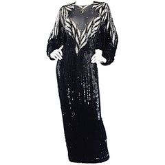 Bob Mackie Vintage Couture Custom Made Black Silk Sequin Beaded Gown