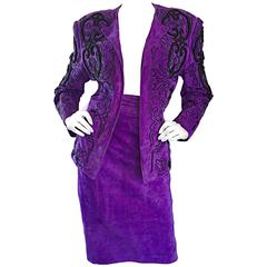 Jean Claude Jitrois Couture Leather Custom Made Purple Lesage Beaded Skirt Suit