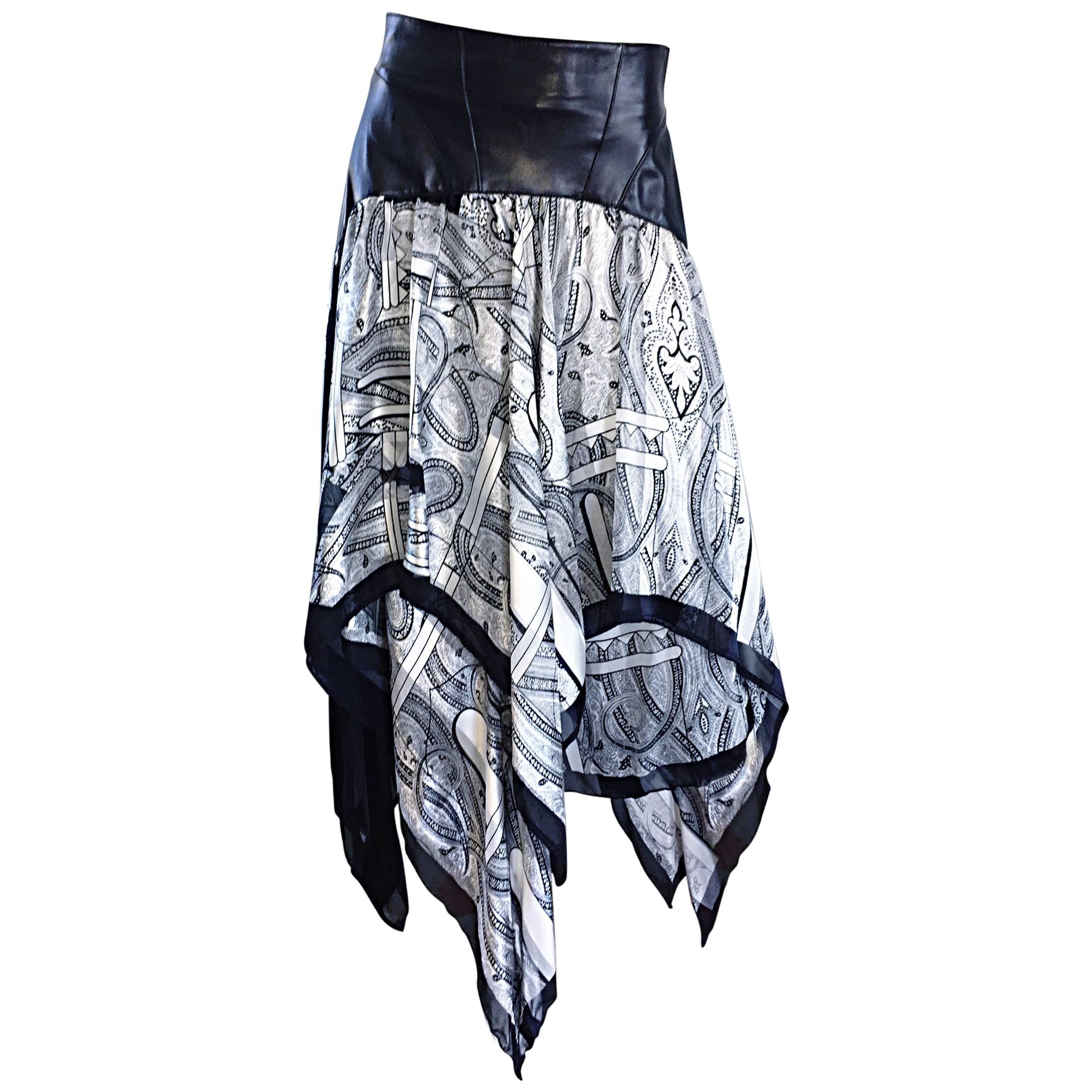 Vintage Jean Claude Jitrois Black and White Leather + Silk Handkerchief Skirt