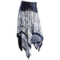 Vintage Jean Claude Jitrois Black and White Leather + Silk Handkerchief Skirt