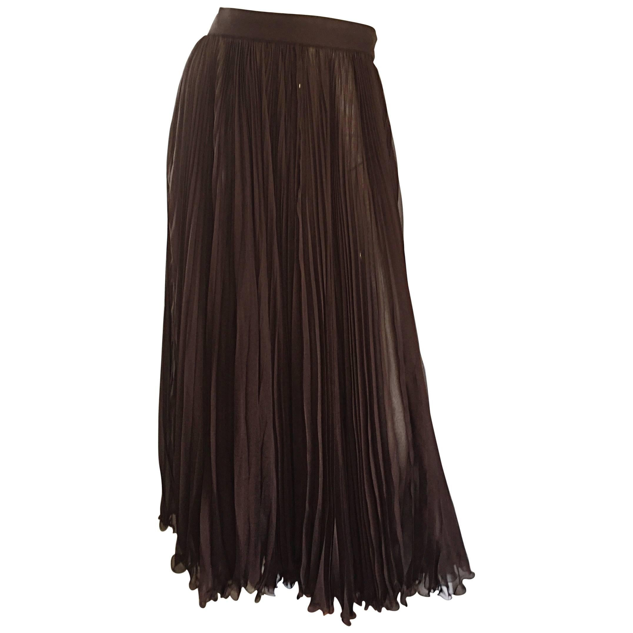 Exceptional Vintage Valentino Chocolate Brown Silk Chiffon Pleated Midi Skirt