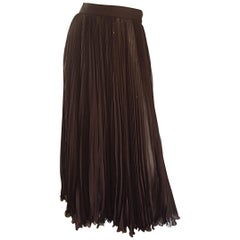 Exceptional Vintage Valentino Chocolate Brown Silk Chiffon Pleated Midi Skirt