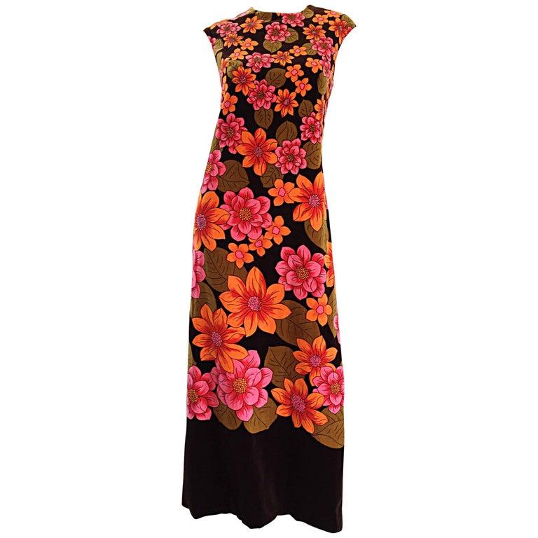 1960s Dynasty Pink + Orange + Brown Velvet Vintage Late 60s Flower Maxi Dress For Sale