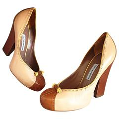 Tabitha Simmons Brand New 1940s Style Tan / Brown / Nude Stacked Heels Sz. 36.5