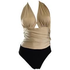 1970s Yves Saint Laurent Sexy Black + Gold Vintage 70s Halter One Piece Swimsuit