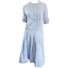 1960s Florence Walsh Vintage Seersucker Blue and White Striped Cotton 60s Suit
