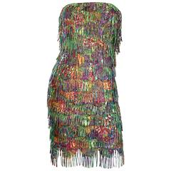 Amazing Vintage Patricia Rhodes Fully Fringed Colorful Strapless Dress Size 4