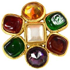 Chanel Vintage Multicolored Jewel and Gripoix Brooch w/ Faux Pearl Center