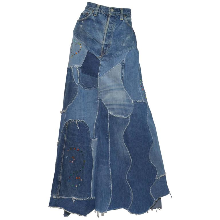 Levis Denim Big E PatchworkCustom Maxi Skirt 1