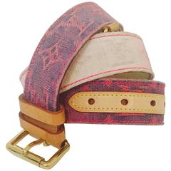 Louis Vuitton Monogram Denim Ombre Belt With Vachetta Leather