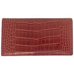 Hermes Matte Rouge Alligator Wallet