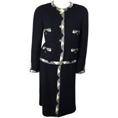 Chanel Black Suit with White Triangle Trim and Gold Buttons