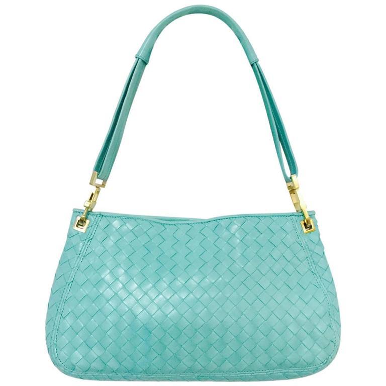 ec689473f Bottega Veneta Mint Blue/Green Intrecciato Woven Nappa Leather Shoulder Bag  For Sale