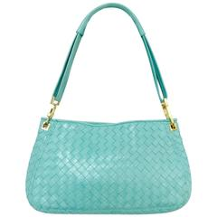 Bottega Veneta Mint Blue/Green Intrecciato Woven Nappa Leather Shoulder Bag
