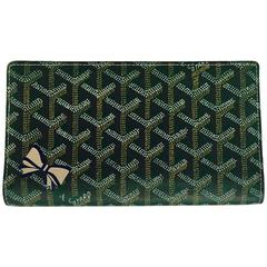 Goyard Green Goyardine Long Wallet W Blue and Gold Bow Excellent Condition