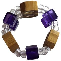 RARE Acrylic and Bamboo Late 1970s JUDITH HENDLER Stretch Bracelet