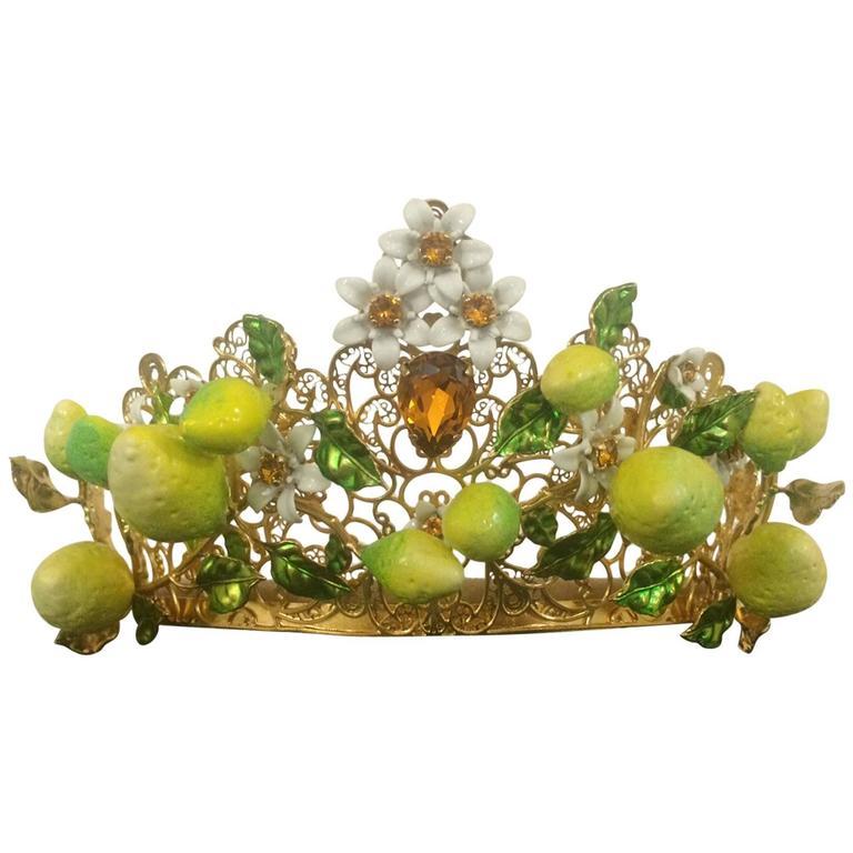 Dolce & Gabbana Gold Lattice Orange Flower Diadem Tiara Crown, Spring 2016