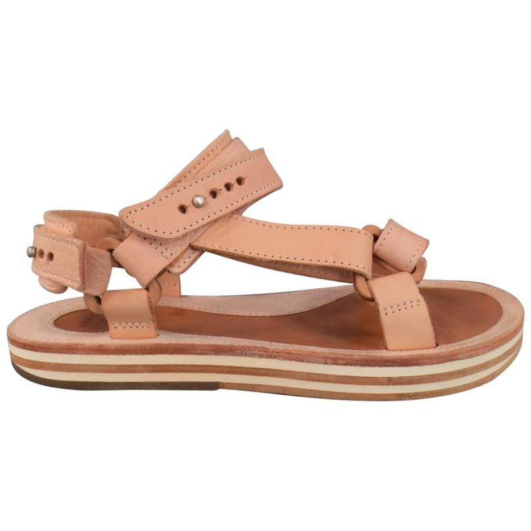 SACAI X HENDER SCHEME Size 10 Men's Natural Beige Leather Sandals