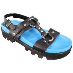 DSQUARED2 Size 12 Black & Blue Leather Harness Platform Sandals