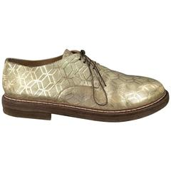 MARSELL Size 8 Men's Metallic Gold Geometric Honeycomb Leather Lace Up Derbys