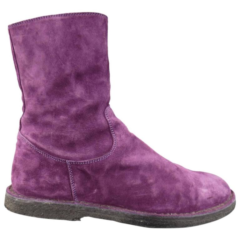 ANN DEMEULEMEESTER Size 8 Men's Purple Suede Crepe Sole Calf Boots For Sale