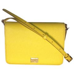 New with Tags Dolce & Gabbana Yellow Leather Cross Body Purse Bag