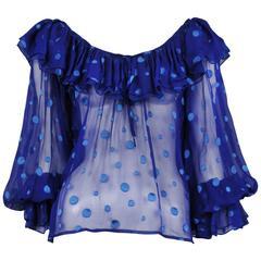 Yves Saint Laurent Blue Polka Dot Ruffle Blouse