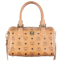 MCM MUNCHEN Tan COGNAC VISETOS Canvas Bauletto BOSTON BAG Handbag w/Strap