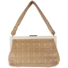 CHANEL Vintage Beige QUILTED Leather HANDBAG White LUCITE FRAME