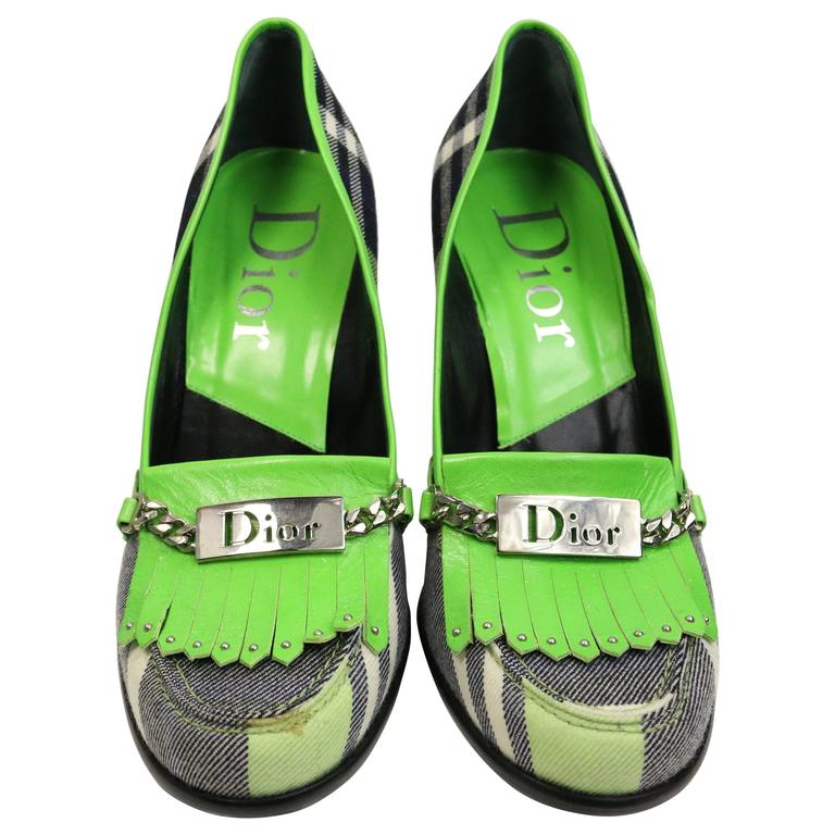 Christian Dior Green Leather Plaid Fringe Pumps