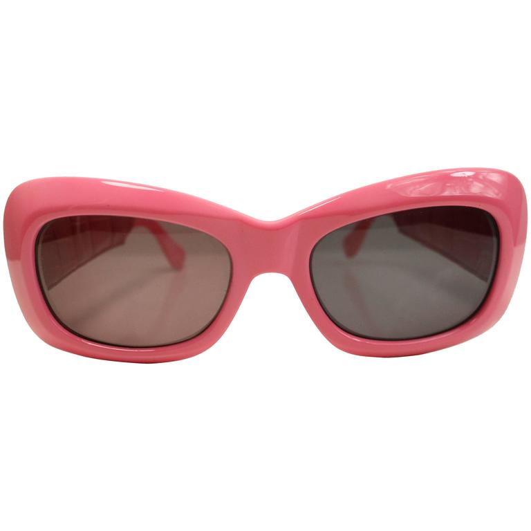 Gianni Versace Pink Croc Leather Sunglasses For Sale