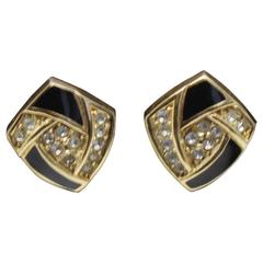 Vintage Christian Dior Gold Plated, Crystals  and Emanel earrings