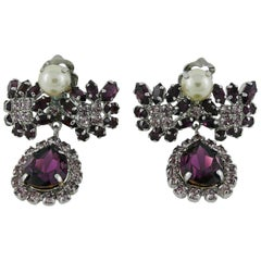 Christian Dior Vintage Jewelled Dangling Earrings