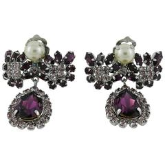 Christian Dior Vintage Jewelled Dangling Earrings