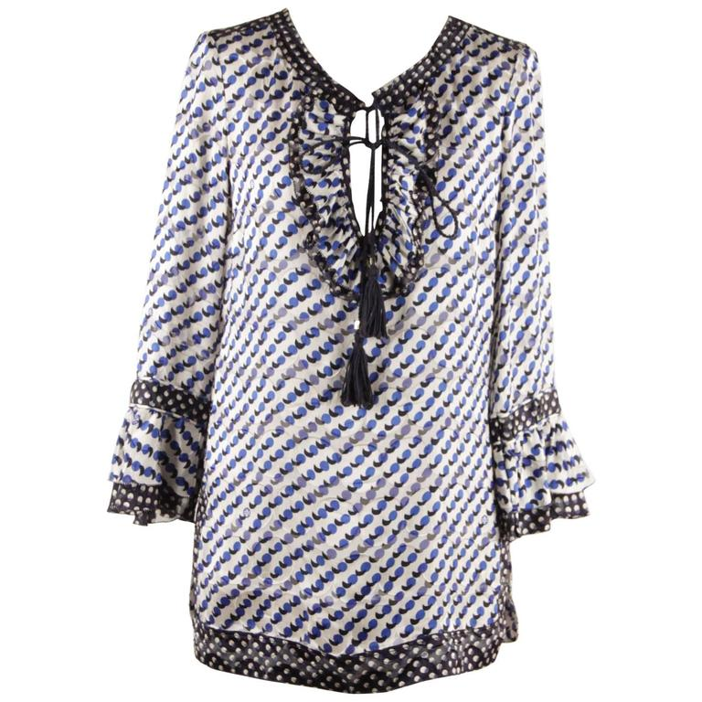 Tory Burch Blue Silk Blend Gwenna Tunic Blouse Top With Ruffles