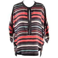 Isabel Marant Etoile Multicolor Striped Textured Silk Blouse Top Size 40